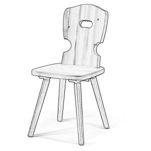 Sedia legno grezzo W5100 | Sedie grezze da verniciare